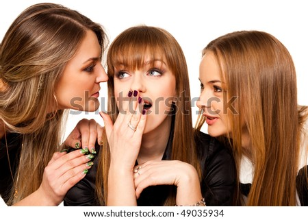 three playmates share secrets isolated on white - stock photo