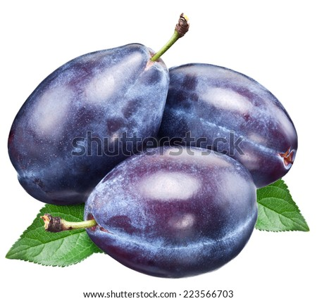 Three plums with leaf. File contains clipping paths. - stock photo
