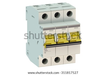 Three-pole miniature circuit breaker isolated on white background - stock photo