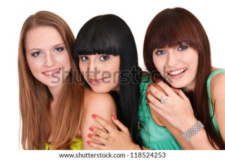 three pretty girls in green dresses on a white background - stock photo