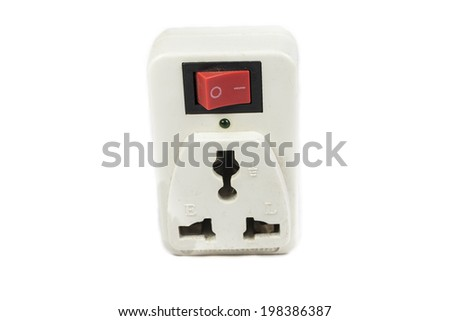 three prong electrical power outlet on white background - stock photo