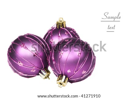 Three purple christmas baubles on white background with space for text - stock photo