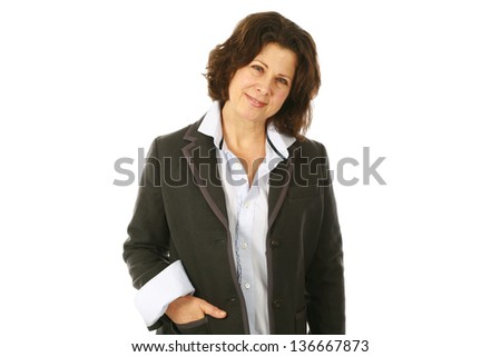 three quarter length of middle age woman isolated on white - stock photo