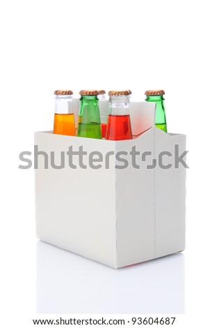 Three quarters view of a six pack of assorted soda bottles over a white background with reflection. - stock photo