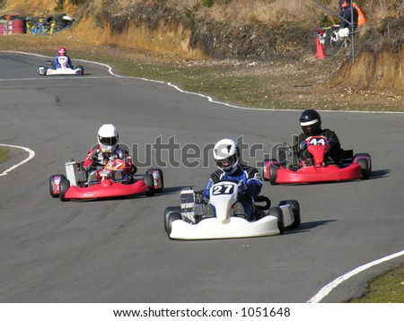 Three racing go karts - stock photo