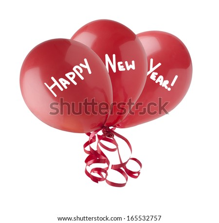 Three red balloons, grouped together with streamers trailing below.  Each containing one word of the phrase Happy New Year.  Isolated on a white background. - stock photo