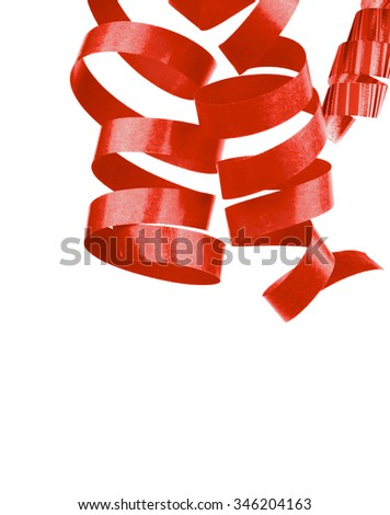 Three Red Curled Party Streamers Hanging down isolated on White background - stock photo