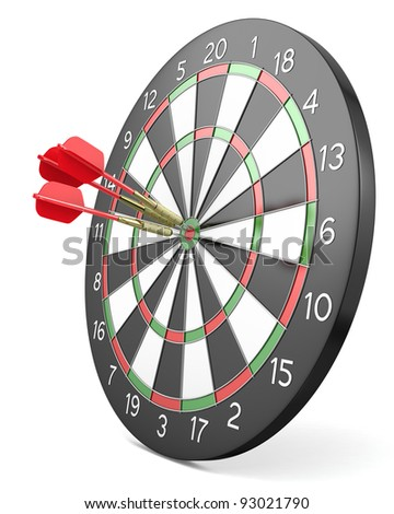 Three red darts hit center of board, isolated on white background - stock photo