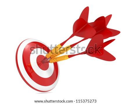 Three Red Darts Hitting a Target, Isolated On White Background. - stock photo
