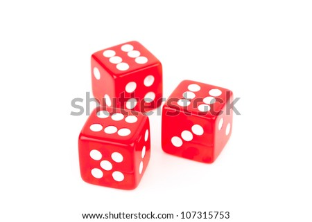 Three red dices against a white background - stock photo
