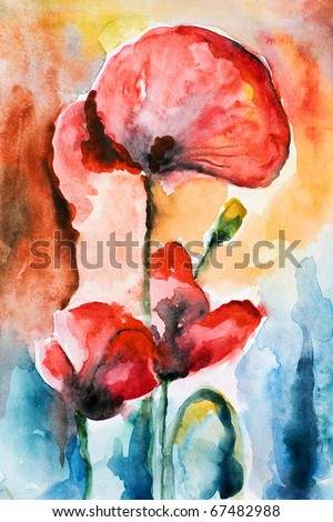 three red poppy and poppy buds drawn by water color color on a water color paper - stock photo