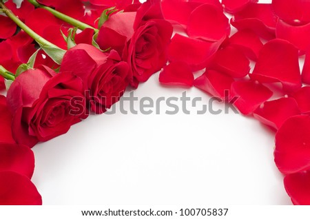 Three red rose flowers and spread petals - stock photo