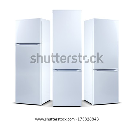 three refrigerators - stock photo