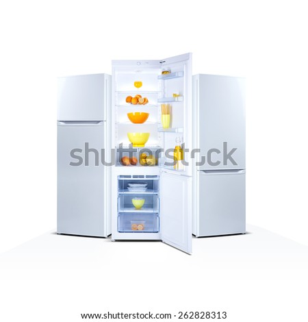 Three refrigerators isolated on white, open door, Class A+, A plus plus, eco - stock photo