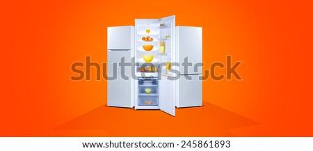 Three refrigerators with fresh food, open door, white steel, orange background - stock photo