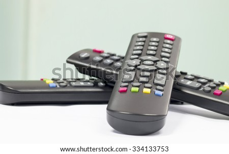 Three remote for control electrical power - stock photo