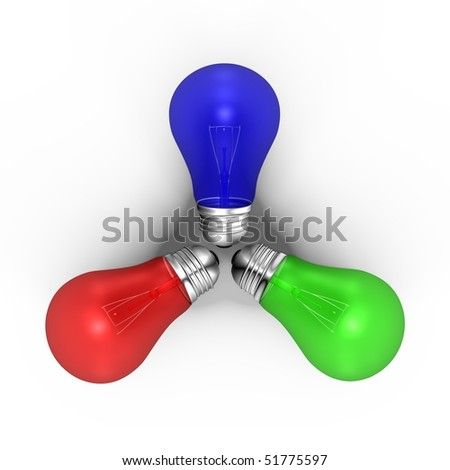 Three RGB light bulbs - a 3d image - stock photo