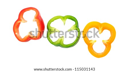 three rings bell pepper isolated on white - stock photo