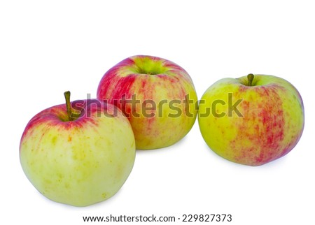 Three ripe green apples.  isolated on white  - stock photo