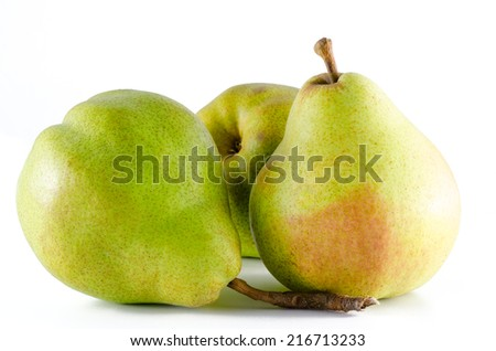 three ripe pears isolated on white background - stock photo
