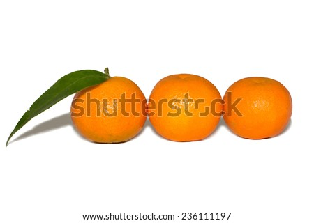 Three Ripe tangerines with leaves isolated on white background - stock photo