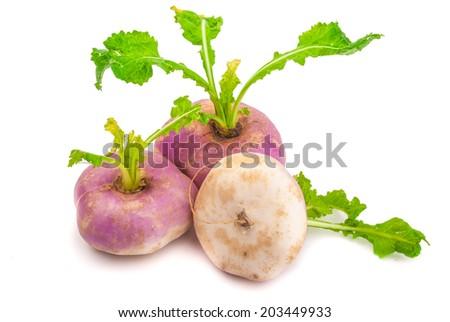 Three ripe turnips isolated on white - stock photo