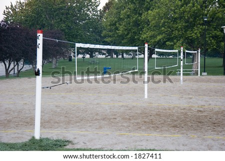Three Sand Beach Volleyball nets in a row - stock photo