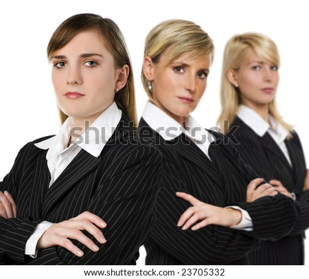 three serious business woman close up shoot - stock photo