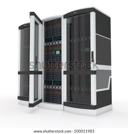 three servers with open door on white - stock photo