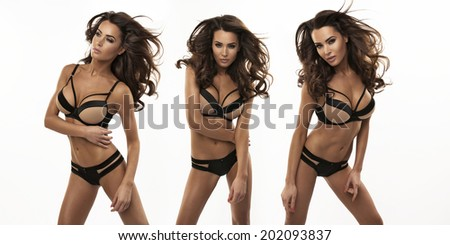 Three sexy woman in beautiful lingerie - stock photo
