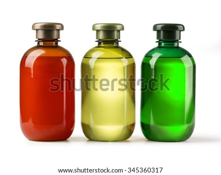 three Shampoo bottle on a white background with clipping path - stock photo