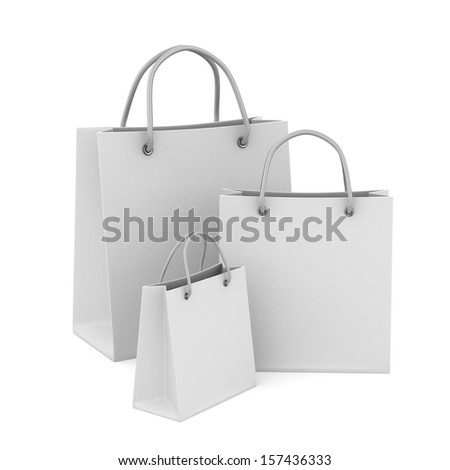 Three shoping bags on white. Isolated 3D image - stock photo