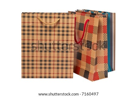 Three shopping bags, isolated on white background - stock photo