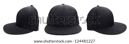 Three shots of a fitted black hat from different angles isolated on a white background. - stock photo