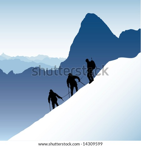 Three silhouetted mountaineers descending a ridge in the French Alps with Mont Blank in the background. Also available as vector. - stock photo