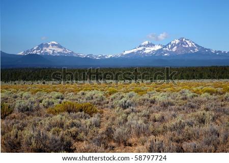 Three Sisters mountains, Oregon - stock photo