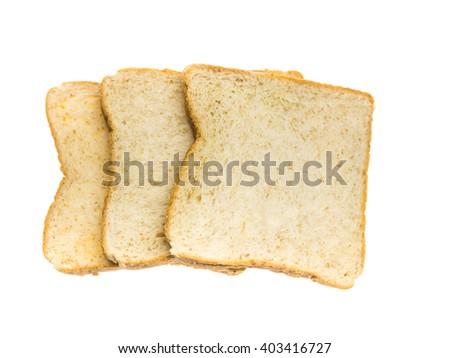three slice of white bread on white background - stock photo