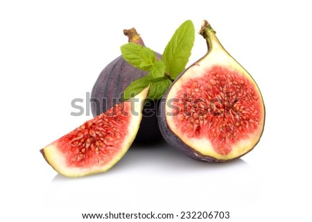 Three sliced figs lengthwise in half with spearmint, isolated on white background - stock photo