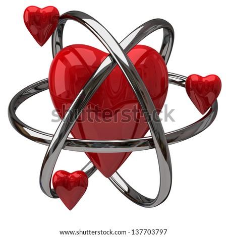 Three small red hearts rotating around a big heart - stock photo