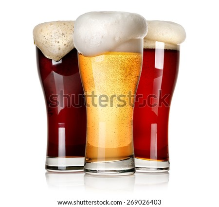 Three sorts of beer isolated on a white background - stock photo