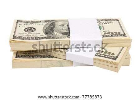 Three stacks of $100 bills isolated on white background - stock photo