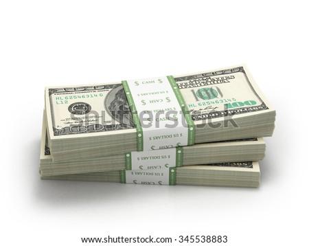 three stacks of hundred paper dollar bills - stock photo