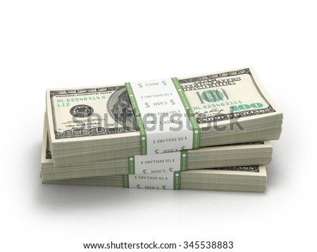 three stacks of hundred paper dollar bills money - stock photo