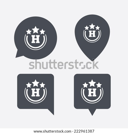 Three star Hotel apartment sign icon. Travel rest place symbol. Map pointers information buttons. Speech bubbles with icons. - stock photo