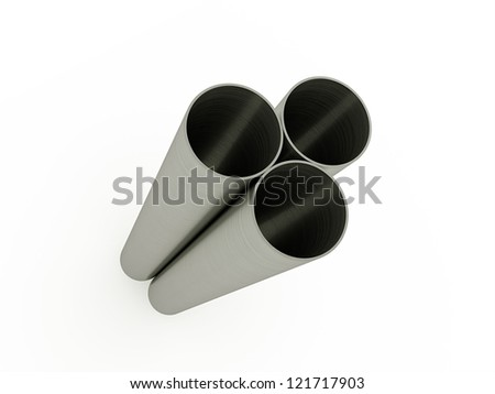 Three steel pipe isolated on white background - stock photo