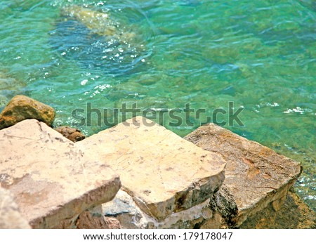 three steps to the sea - stock photo