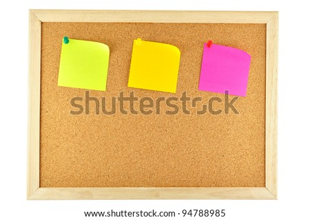 three sticky note pinned on cork notice board - stock photo