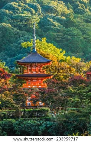 Three-storied pagoda at Taisan-ji Temple nearby Kiyomizu-dera Temple in Kyoto  - stock photo