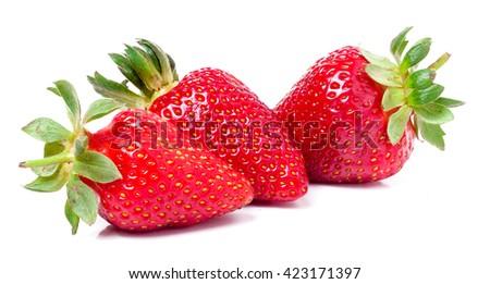 three strawberries isolated on white background close-up macro - stock photo