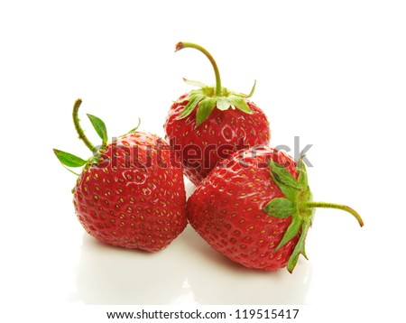 Three strawberry isolated on a white background - stock photo